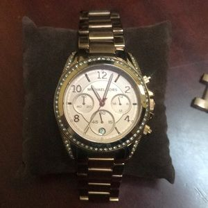 Michael Kors rose gold watch with rhinestones
